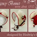 Regency Bonnet (Stil 1810) gefertigt mit Baumwollsatin, Straußenfedern und Seidenrosen, bestickt mit Swarovski- Schliffperlen