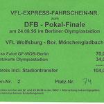 Meine Fahrkarte vom Zug nach Berlin zum Pokalfinale