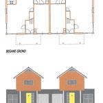 Geschakelde woningen met gemetselde onderbouw en overkragende houtskelet bovenbouw.