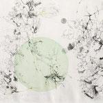 Kristin Finsterbusch, Feld, Wald und Kreis 2, Tiefdruck, vernis mou, Farbstift, 2014, 30 x 40 cm