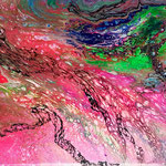 -im Fluss- 40cm x 30cm, Acryl auf Leinwand, fluoreszierend