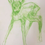 Drawing, serie Green Deers, 40 x 50 cm, 2019, SOLD, Private Collection Groningen