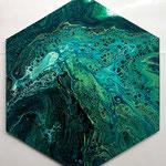 -grüne Welle- Ø50cm x1,5cm, Acryl auf Leinwand