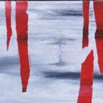 """""""Eishöhle"""". Acryl gerakelt auf Sperrholz."""