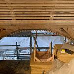 Neue, angebrachte Spalierlattung, als Untergrund für Lehmbauplatten.
