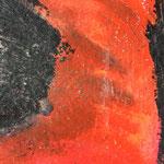 Rot und Schwarz II / Acryl, Stifte auf Papier / 25x25