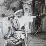 小澤名誉師範91歳のお写真、裏書に「昭和37年8月26日 兵庫県弓道連盟主催 長寿祝賀記念射会 王子弓道場」とある