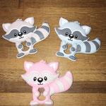 Beisswaschbären (grau, babyblau, rosa)