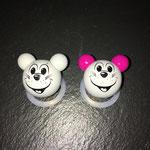"""Motivperle """"3D Maus"""" (grau, pink)"""