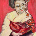 Geisha, Inspired by Japan, Acrylic on canvas, 24 x 30 cm, 20, Available at Deer Daddy Gallery - 590 euro