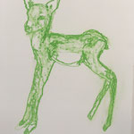 Drawing, Serie Green Deers, 30 x 40 cm, 2019, available at Deer Daddy - 490 euro