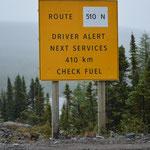 Keine Tankstelle auf den nächsten 410 Kilometern...
