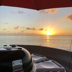 BBQ DONUTS BOAT SUNSET Martinique