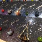 土星(天然石)と惑星(手作りガラス)のピアスセット ¥5000