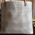 手織りバックS ギンガム白ベージュ ¥5000(sale)