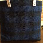手織りバックS ギンガム黒紺 ¥5000(sale)