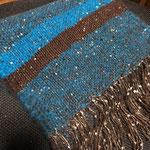手織りマフラー青茶 25cm×190cm ¥8000