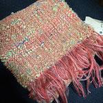 手織りマフラーオレンジ 約25cm×160cm ¥6000
