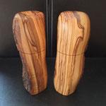 Pfeffermühle, Gewürzmühle Set Olive Holz Unikat Einzelstück Gewürzmühle handarbeit design