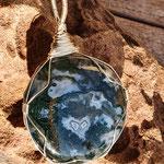 Amulett indischer Moosachat auf 925er Silber, 64 x 40 x 11mm, 30gr.     €62