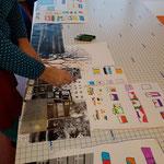 Vorbereitungsarbeiten für das Wandbild mit den Lieblingsorten der Kinder Foto: S. Schwarz
