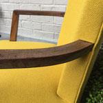 Réfection fauteuil Bridge tissu Lana coloris Pastis de Lelièvre Paris