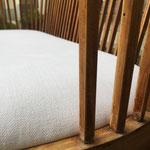 Réfection complète de l'assise banquette XXème : tissu Hot Madisson de Chivasso