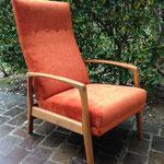 Réfection partielle fauteuil Scandinave années 60 inclinable avec repose pied rabattable - Tissu Fidelio d'Houlès