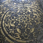 Detail vergulde mandala medaillon