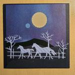 O 3 Nachtidylle mit Pferden - Grandkarte im Naiven Stil 8,00€