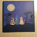 O 4 Nachtidylle mit Kätzchen - Grandkarte im Naiven Stil 8,00€