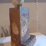 """"""" Bison Boule 2 """" Sculpture grès noir  cuisson Noborigama H37cm Pièce Unique -Juan José Ruiz dit """"Caco"""" Artiste Auteur/Sculpteur"""