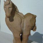 """""""Poulain"""" Sculpture grès blanc cuisson Noborigama H15cm -Juan José Ruiz dit """"Caco"""" Artiste Auteur/Sculpteur- 280€"""