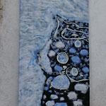 """Tableau """"Îlots de Patagonie"""" 135/60.50 cm en laine mérinos, soie tussah, toison mérinos, filaments bois de rose. Pièce unique"""