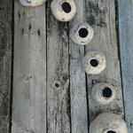 """Galets série """"Vagues"""" vue du dessus Ø de 10 à 21 cm en laine mérinos et mousseline de soie"""