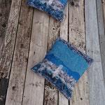 """Coussins """"Vue du Grand nord"""" avec rabats 42/44 cm en laine mérinos et mousseline de soie"""