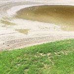Wasser im Bunker nach dem Regen vom Samstag
