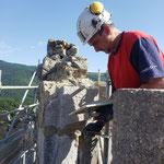 Lundi 14 juin - réunion de chantier - Rejointement des pierres