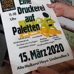 Das Plakat der »Druckerei auf Paletten« zum Tag der Druckkunst