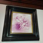 Tableau angelots peint sur porcelaine