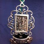 """20B - Acquasantiera in argento fatta a mano """"Madonna di lourdes"""""""