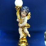 30A - Angelo  in legno scolpito a mano portacandela  scolpito a mano e decorato in oro zecchino