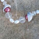 Drahtherz Mobile Windspiel Türschmuck Salamina mit altrosa & silbernen Glanzperlen, Muscheln, facettierten durchsichtigen Acrylperlen, Sternenstaub Metallperlen, weissen Glanzperlen