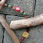 Weihnachts Adventsgirlande Weihnachtsdekoration Schwemmholz Treibholz Girlande Mobile Windspiel Tür-, Fensterdeko, roten Lampwork- und Acrylperlen, dunkelbraunen Holzrondellen