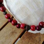 Damen Halskette Ethno Boho Perlenhalskette Perlenkette Halskette Granada mit roten Acai-Samenperlen, bronzefarbenen Acrylperlen in verschiedenen Grössen und Muster