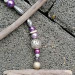 Weihnachts Adventsgirlande Weihnachtsdekoration Treibholz Girlande Mobile Windspiel Tür-, Fensterdeko, Metall- und Acrylperlen in silber, violett, lila & rosa
