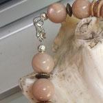 Perlen Halskette Perlenkette Edelstein Heilstein Cullodena mit 14mm Mondstein Perlen, Kokosrondellen, Bronze Metallrondellen & Karabinerverschluss