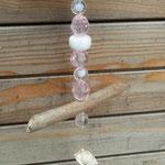 Schwemmholz Girlande Windspiel Mobile Fensterhänger Pinke Belle mit Blumenanhänger rosa aus Metall, Muscheln, rosa und durchsichtigen facettierten Acrylperlen und rosa 2cm Samtperlen