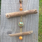 Schwemmholz Treibholz Girlande Vintage Retro Girlande Mobile Old Cookie mit alter, bronze Acrylperlen, braung glänzenden Zwischenteilen, Polymerperle orange mit grün