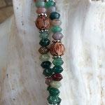 Lange Boho Ethno Jaspiskette Jaspis Perlenhalskette Rhonda mit Jaspisperlen, Kokosperlen, silbernen Blumenrondellen, Anhänger Blume des Lebens rund